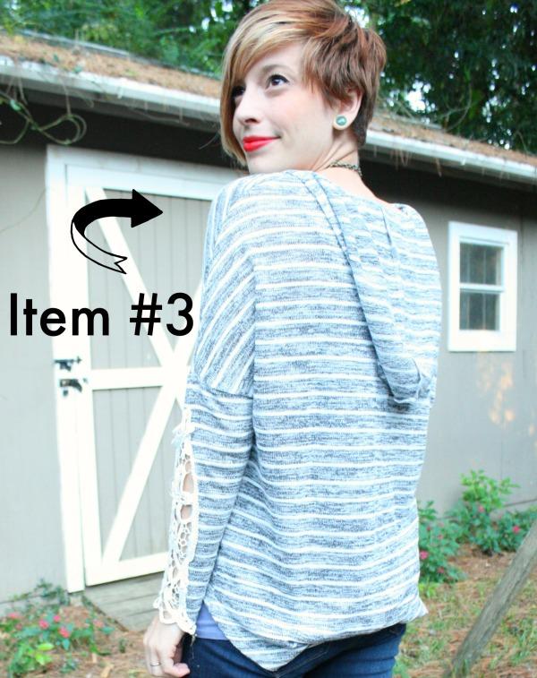 Beck Crochet Sleeve Hooded Top En Creme