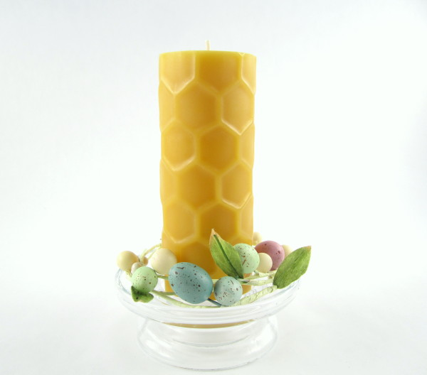 Easter Honeycomb Pillar from Toadily Handmade Beeswax Candles
