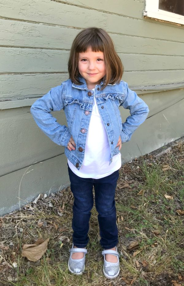Elly Ruffle Denim Jacket by Miss Selfie, Lily Skinny Jean by Warp + Weft for Stitch Fix Kids